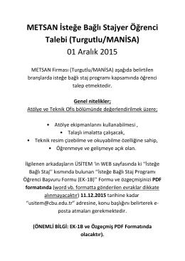 METSAN İsteğe Bağlı Stajyer Öğrenci Talebi (Turgutlu/MANİSA) 01