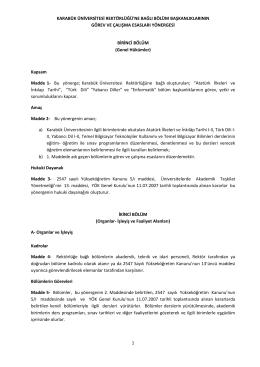1 karabük üniversitesi rektörlüğü`ne bağlı bölüm başkanlıklarının