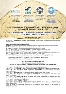 IV. ULUSLARARASI TÜRK SANATLARI, TARİHİ ve