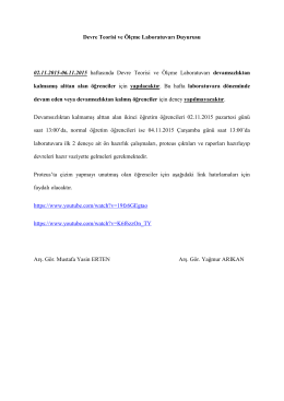 Devre Teorisi ve Ölçme Laboratuvarı Duyurusu 02.11.2015