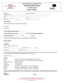 Sergi Alanı Kayıt ve Ödeme Formu DÖKME MALZEME FORUMU 2
