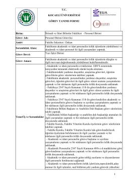 Personel Birimi Görev Adı - İktisadi ve İdari Bilimler