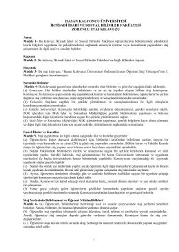 İİSBF Staj Klavuzu - İktisadi, İdari ve Sosyal Bilimler Fakültesi