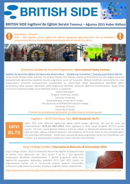 BRITISH SIDE İngiltere`de Eğitim Servisi Temmuz – Ağustos 2015