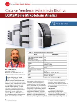 LCMSMS ile Mikotoksin Analizi