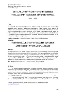 Uluslararası Ticarette Çekim Eşitliği Yasasının Teorik Bir