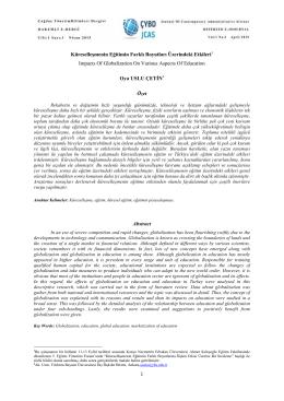 Küreselleşmenin Eğitimin Farklı Boyutları Üzerindeki - CYBD-JCAS