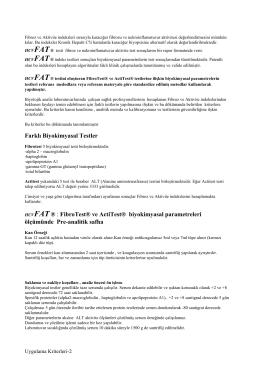 Farklı Biyokimyasal Testler HCVFAT ® : FibroTest® ve ActiTest