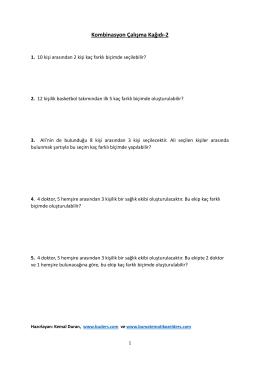 Kombinasyon Çalışma Kağıdı-2