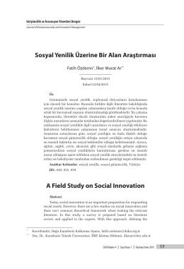 Sosyal Yenilik Üzerine Bir Alan Araştırması A Field Study on Social