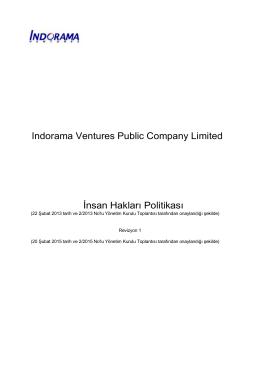 Indorama Ventures Public Company Limited İnsan Hakları Politikası