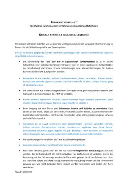 Informationsblatt für Muslime zum Schlachten im Rahmen des