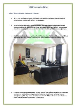 2015 Temmuz Ayı Bülteni - Afyonkarahisar Ticaret Borsası