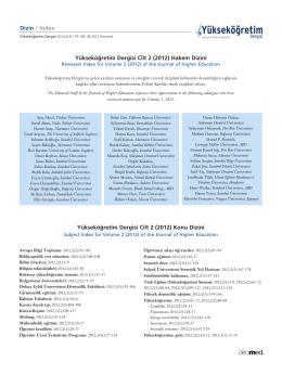 Hakem, Konu ve Yazar Dizini - Yükseköğretim Dergisi / Journal of