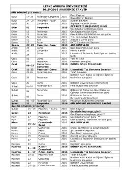 Akademik Takvim 2015-2016 - Lefke Avrupa Üniversitesi