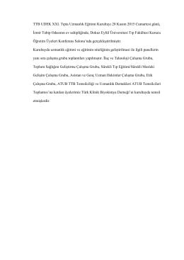TTB UDEK XXI. Tıpta Uzmanlık Eğitimi Kurultayı 28 Kasım 2015