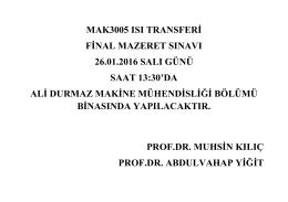 MAK 3005 Isı Transferi Final Mazeret Sınav Duyurusu