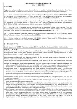 Orfin Finansman A.Ş. Ana Sözleşmesi