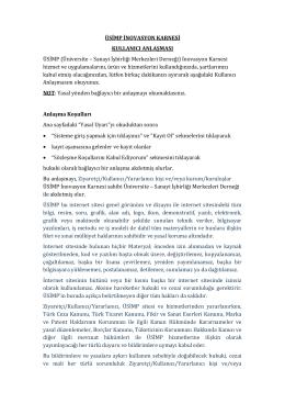 kullanıcı anlaşmasını - ÜSİMP İnovasyon Karnesi