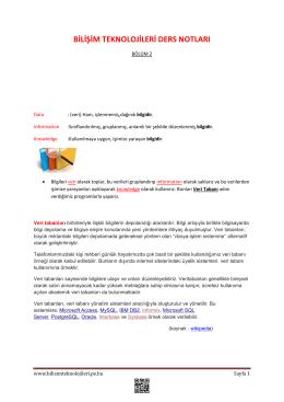 Ders Notları 2.Bölüm - Bilişim Teknolojileri