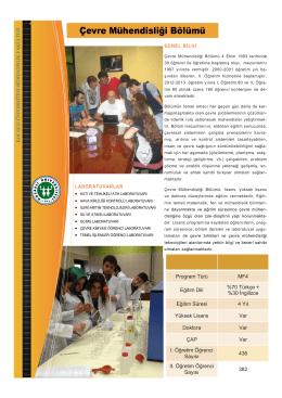 Çevre Mühendisliği Bölümü - Mühendislik Fakültesi