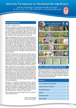 Bülten 10.sayı - Veteriner Farmakoloji ve Toksikoloji Derneği.