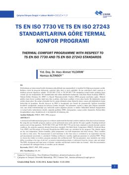 ts en ıso 7730 ve ts en ıso 27243 standartlarına göre termal konfor