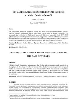 Dış Yatırımların Ekonomik Büyüme üzerine Etkisi: Türkiye Örneği