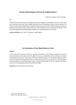 Urfa`da Vakıf Kitaplar Üzerine Bir Değerlendirme An Evaluation of
