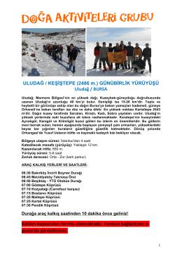 ULUDAĞ / KEŞİŞTEPE (2486 m.) GÜNÜBİRLİK YÜRÜYÜŞÜ