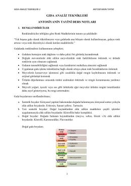 gıda analiz teknikleri dersi antosiyanin tayini notları
