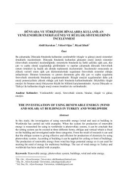 (güneş ve rüzgâr) sistemlerinin incelenmesi - E-JOIR