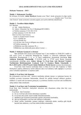 2015 / Madde 1- Sözleşmenin Tarafları
