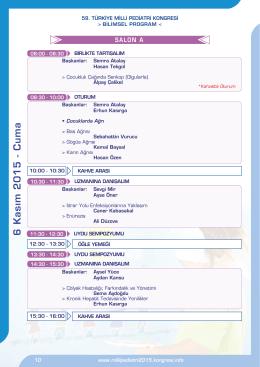 6 Kasım 2015 - Cu ma - 59. türkiye milli pediatri kongresi