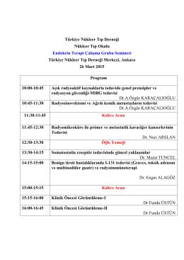 Türkiye Nükleer Tıp Derneği Nükleer Tıp Okulu Endokrin Terapi