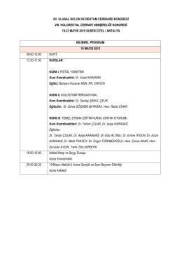 bilimsel program - XV. Türk Kolon ve Rektum Cerrahisi Kongresi