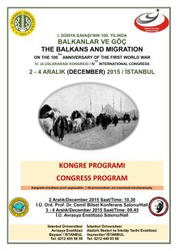 Balkanlar ve Göç Kongre Programı
