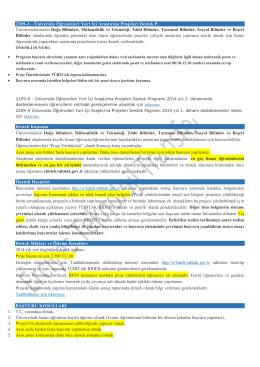 2209-A - Üniversite Öğrencileri Yurt İçi Araştırma Projeleri Destek P