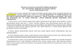 önlisans, lisans ve lisansüstü öğrencileri için 2015