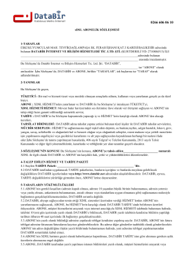 xDSL ABONELİK SÖZLEŞMESİ 1