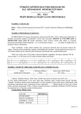 Peşin Bedelli Marn Satış Protokolü Örneği (Yıllık) - ELİ