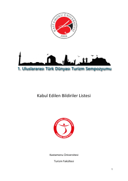 Kabul Edilen Bildiriler Listesi - Türk Dünyası Turizm Sempozyumu