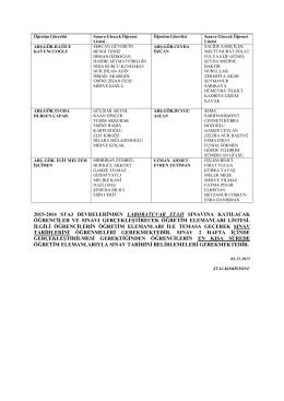 laboratuvar stajı listesi
