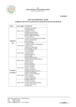 11.08.2015 2015 yılı personel alımı yarışma sınavına