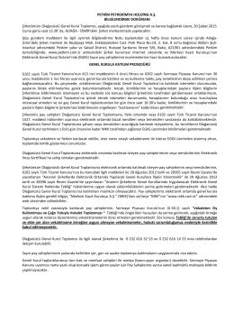 BILGILENDIRME DOKUMANI - Petkim PetroKimya Holding A.Ş.