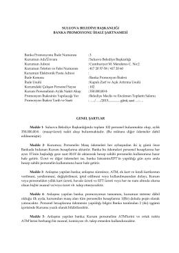 23.06.2015 tarihli banka promosyon ihale şartnamesi