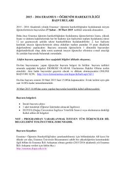 Başvuru Bilgileri - Doğuş Üniversitesi – Uluslararası İlişkiler Ofisi