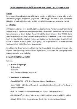 DALAMAN SARSALA KÖYÜ EĞİTİM ve DOSTLUK KAMPI / 21