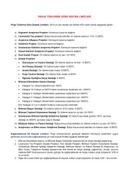 Destek Limitleri - Hacettepe Bilimsel Araştırma Projeleri