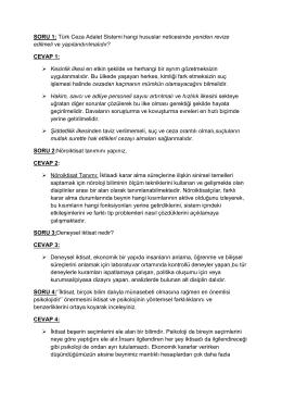 SORU 1: Türk Ceza Adalet Sistemi hangi hususlar